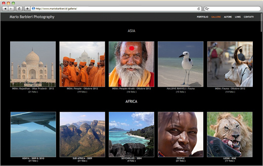 Example of a Photography website gallery.